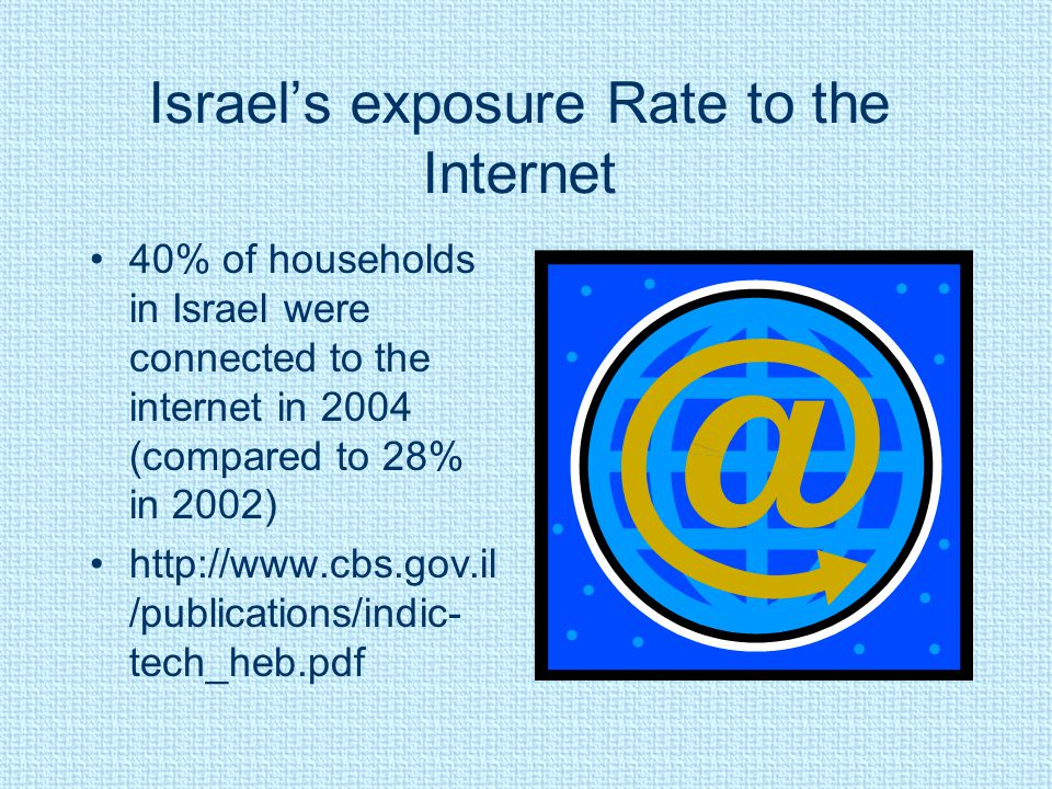 Israel's exposure Rate to the Internet 40% of households in Israel were connected to the internet in 2004 (compared to 28% in 2002) http://www.cbs.gov