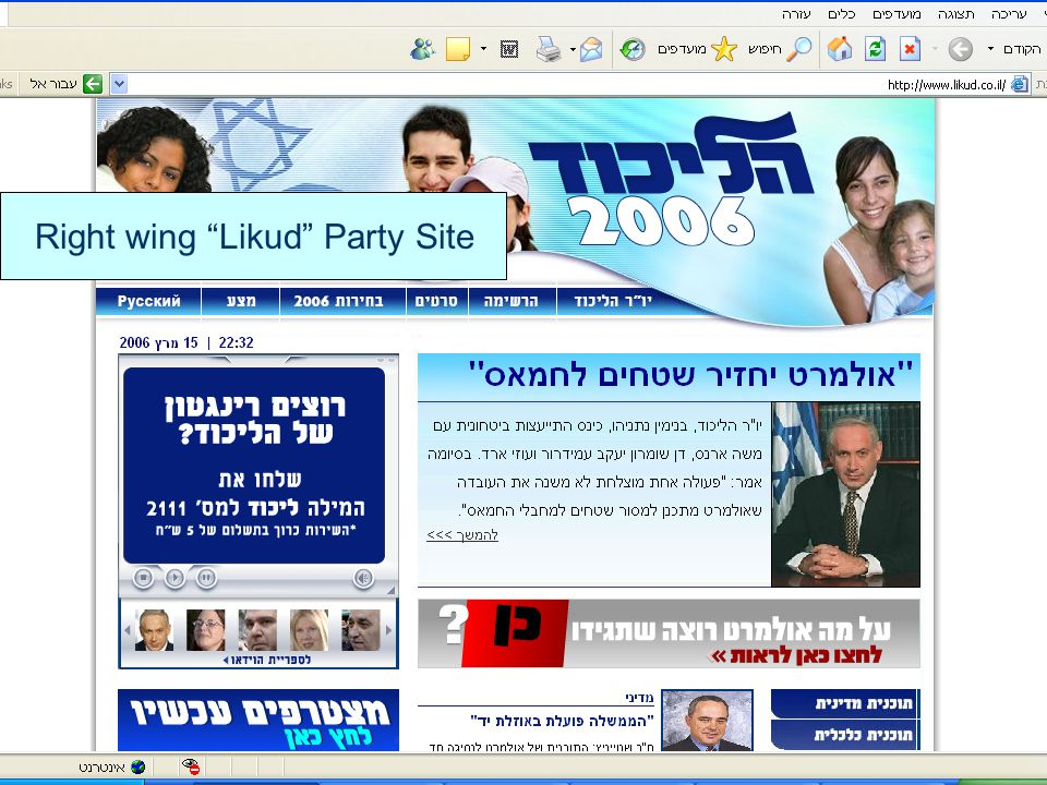 """Right wing """"Likud"""" Party Site"""