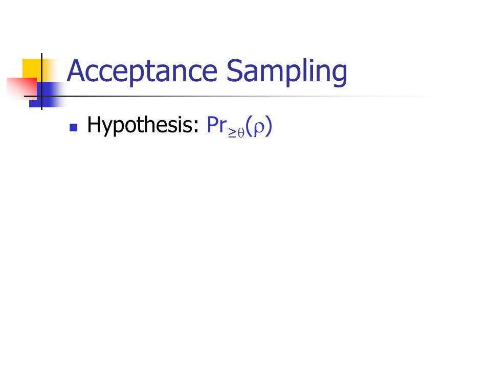 Acceptance Sampling Hypothesis: Pr ≥  (  )