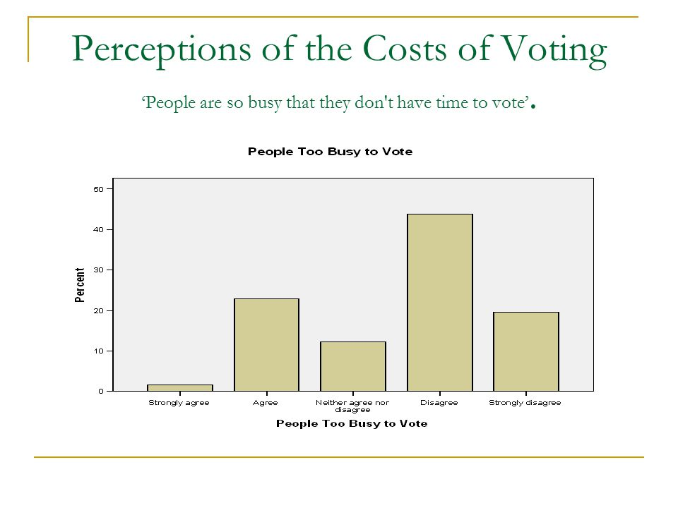 Perceptions of the Costs of Voting 'People are so busy that they don't have time to vote'.