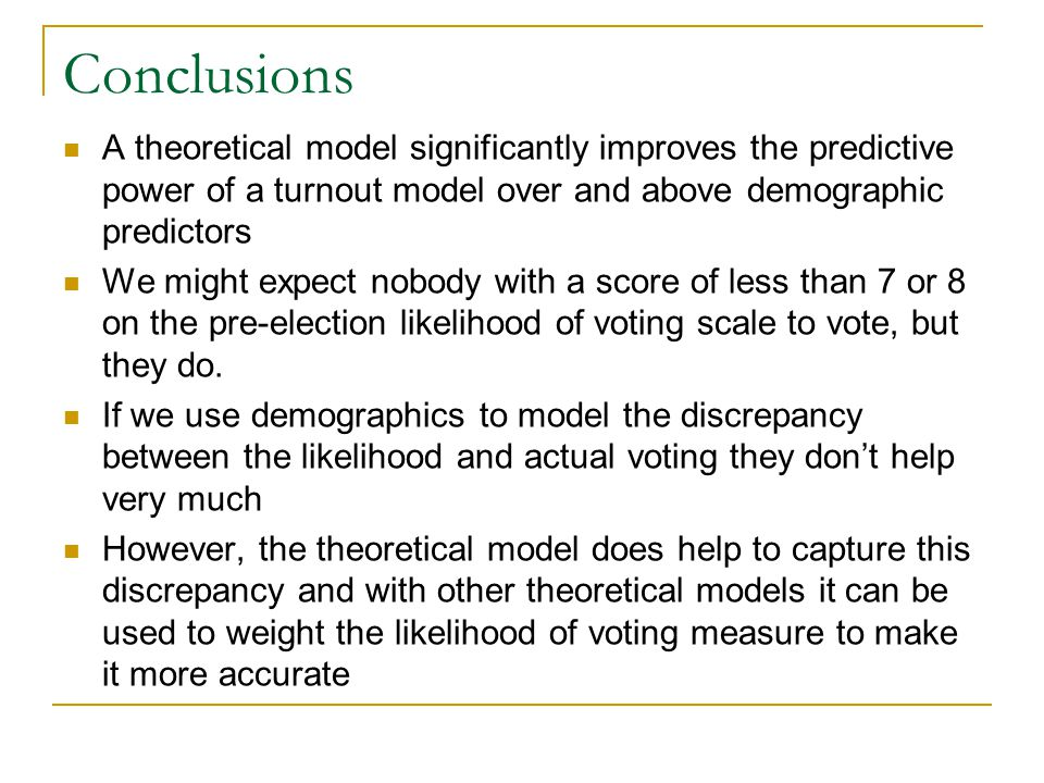 Conclusions A theoretical model significantly improves the predictive power of a turnout model over and above demographic predictors We might expect n