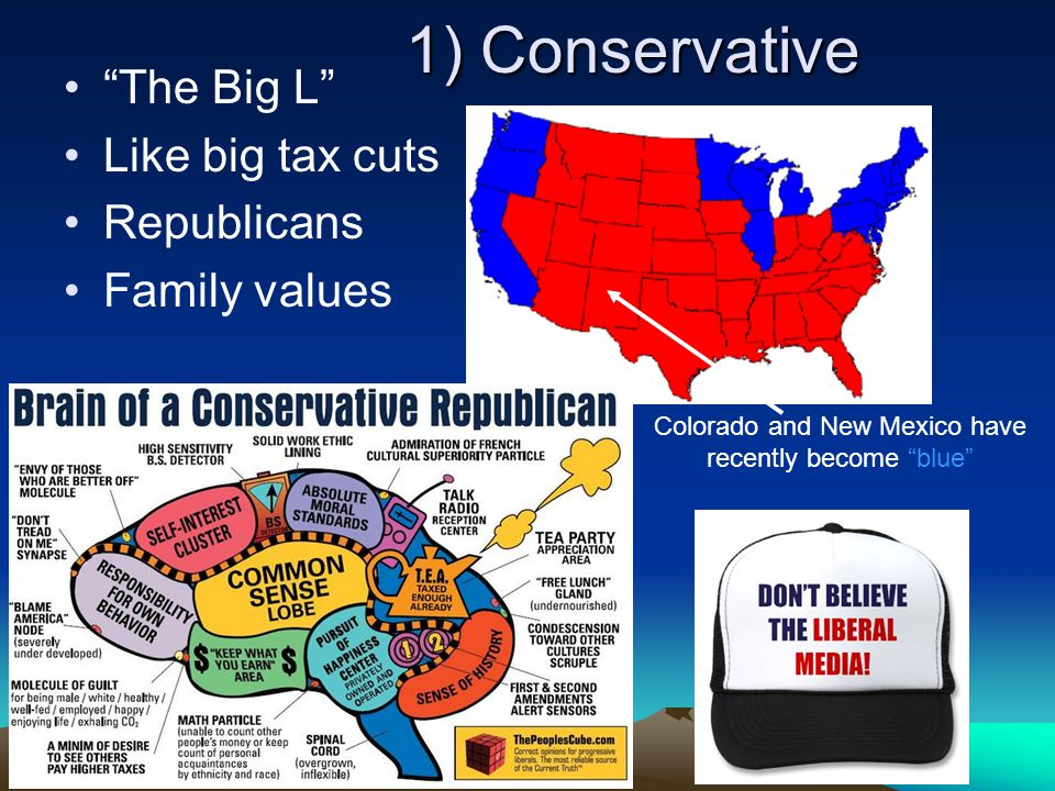 1) Conservative The Big L Like big tax cuts Republicans Family values Colorado and New Mexico have recently become blue