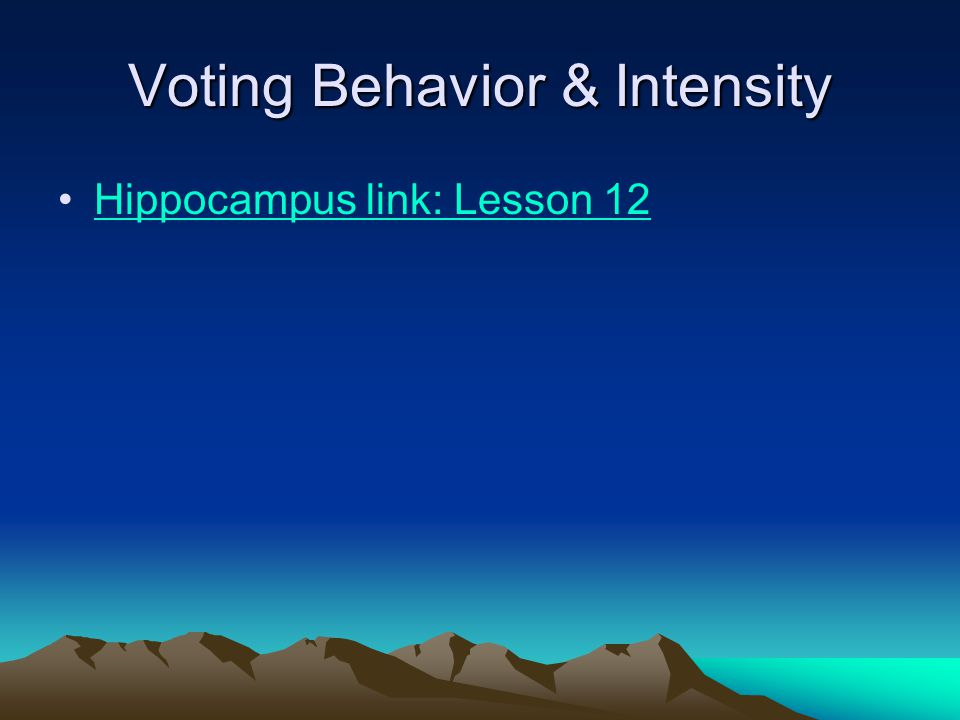 Voting Behavior & Intensity Hippocampus link: Lesson 12
