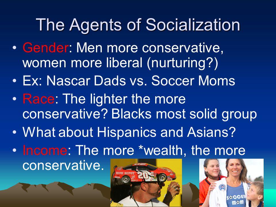 The Agents of Socialization Gender: Men more conservative, women more liberal (nurturing?) Ex: Nascar Dads vs.