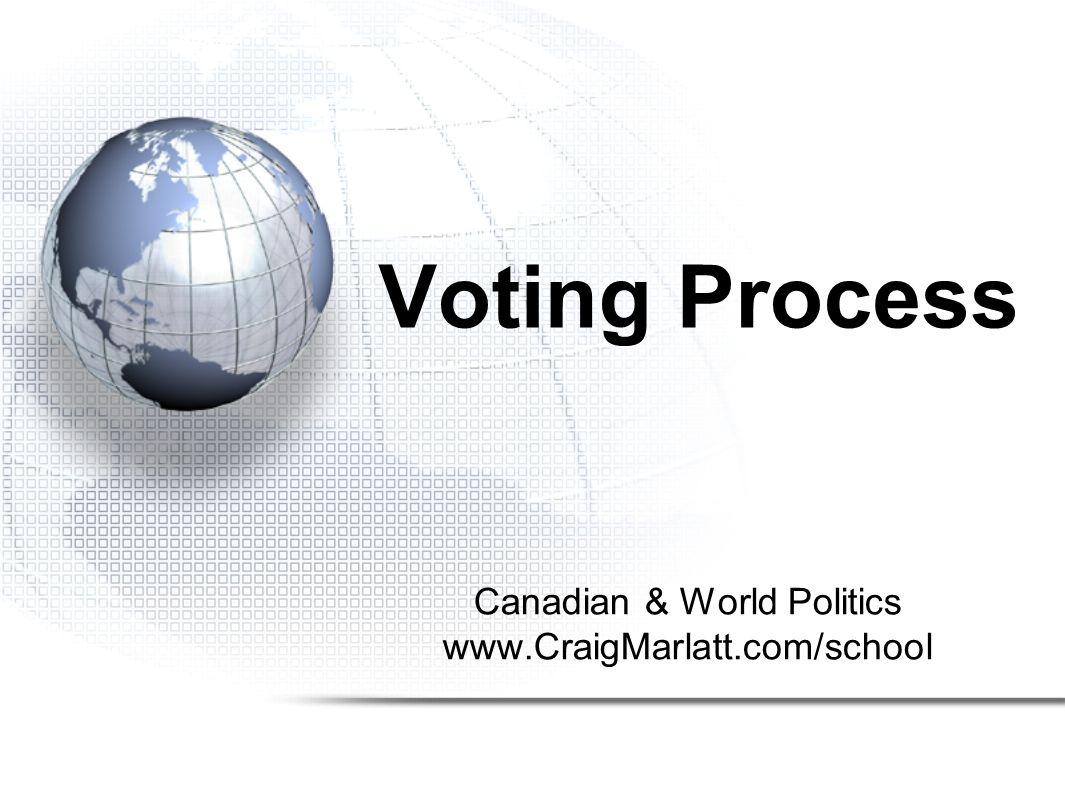 Canadian & World Politics www.CraigMarlatt.com/school Voting Process