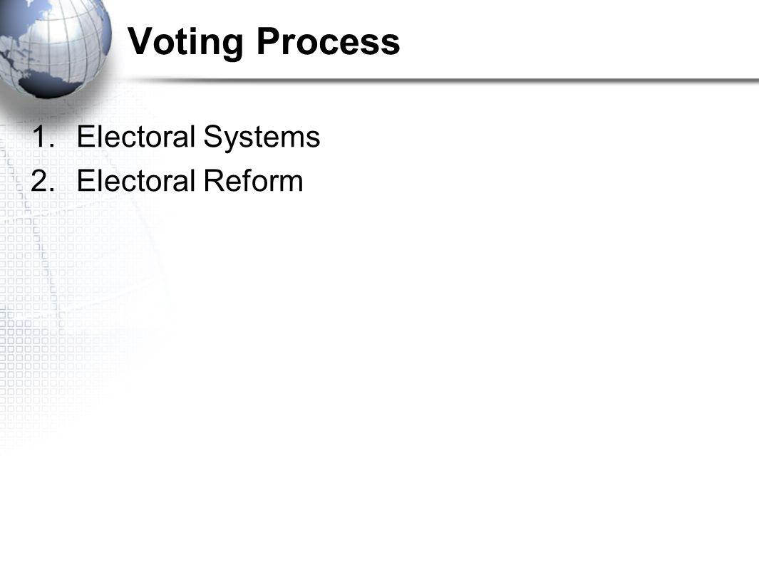 1.Electoral Systems 2.Electoral Reform