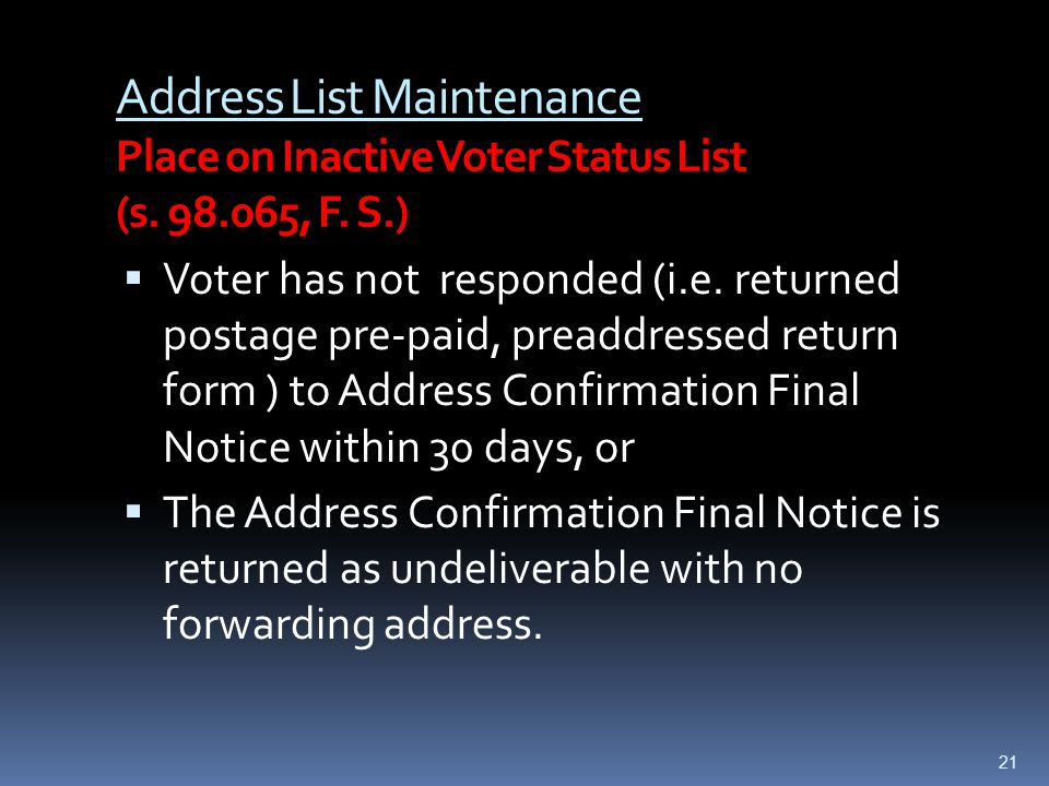 Address List Maintenance Place on Inactive Voter Status List (s.