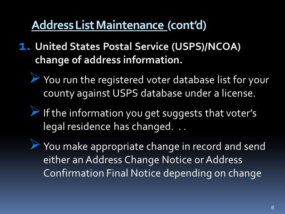 Address List Maintenance (cont'd) 1.