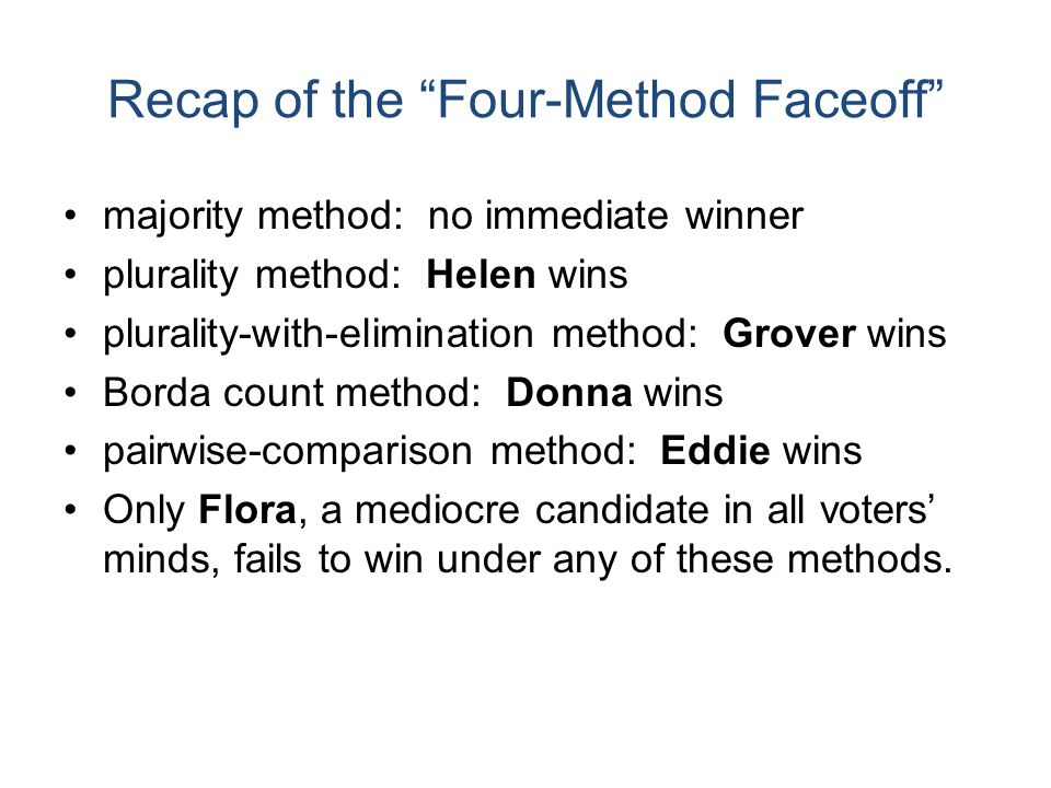 Recap of the Four-Method Faceoff Each method yielded different results because each was violating a different fairness criterion. So...which voting method should we use.