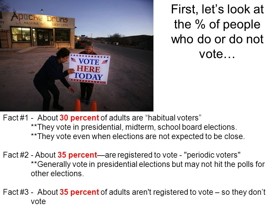 "First, let's look at the % of people who do or do not vote… Fact #1 - About 30 percent of adults are ""habitual voters"" **They vote in presidential, mi"
