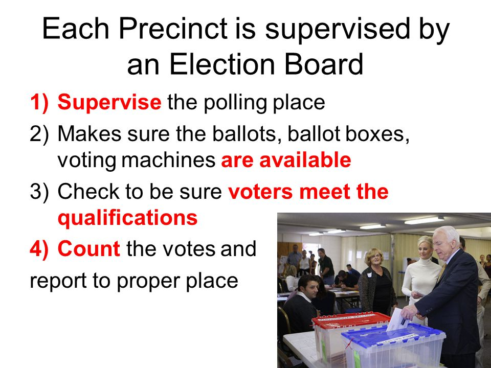 Each Precinct is supervised by an Election Board 1)Supervise the polling place 2)Makes sure the ballots, ballot boxes, voting machines are available 3