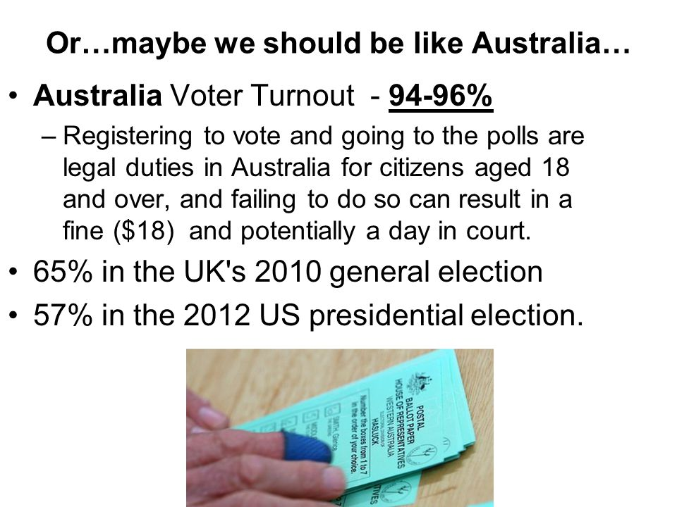 Or…maybe we should be like Australia… Australia Voter Turnout - 94-96% –Registering to vote and going to the polls are legal duties in Australia for c
