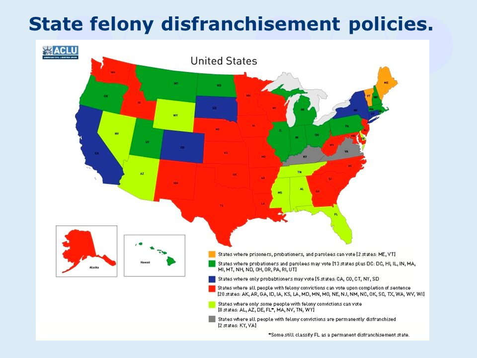 State felony disfranchisement policies.