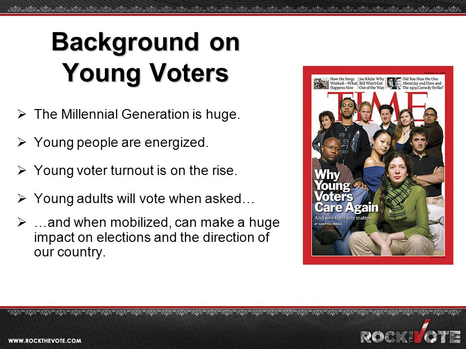 Background on Young Voters  The Millennial Generation is huge.