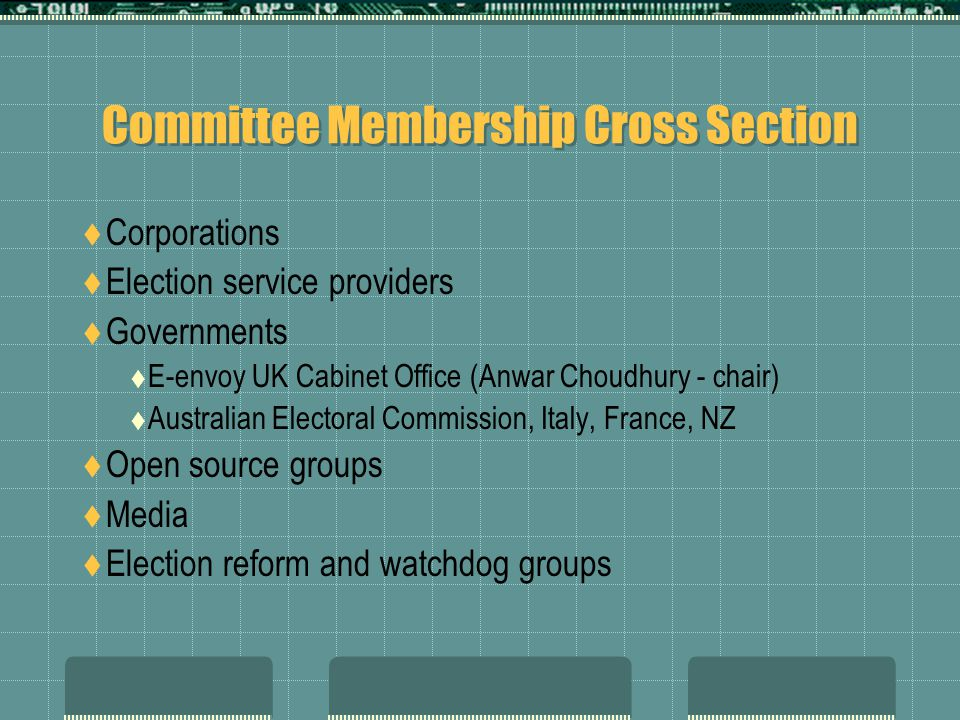 Committee Membership Cross Section  Corporations  Election service providers  Governments  E-envoy UK Cabinet Office (Anwar Choudhury - chair)  Australian Electoral Commission, Italy, France, NZ  Open source groups  Media  Election reform and watchdog groups