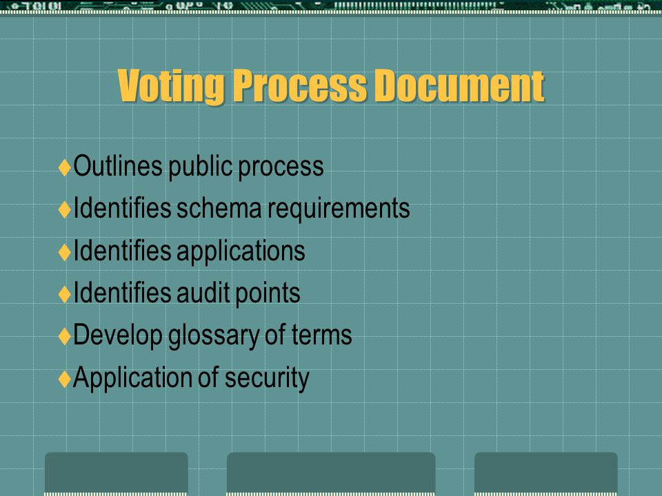 Voting Process Document  Outlines public process  Identifies schema requirements  Identifies applications  Identifies audit points  Develop glossary of terms  Application of security