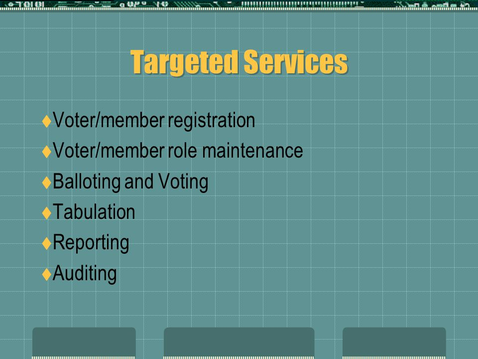 Targeted Services  Voter/member registration  Voter/member role maintenance  Balloting and Voting  Tabulation  Reporting  Auditing