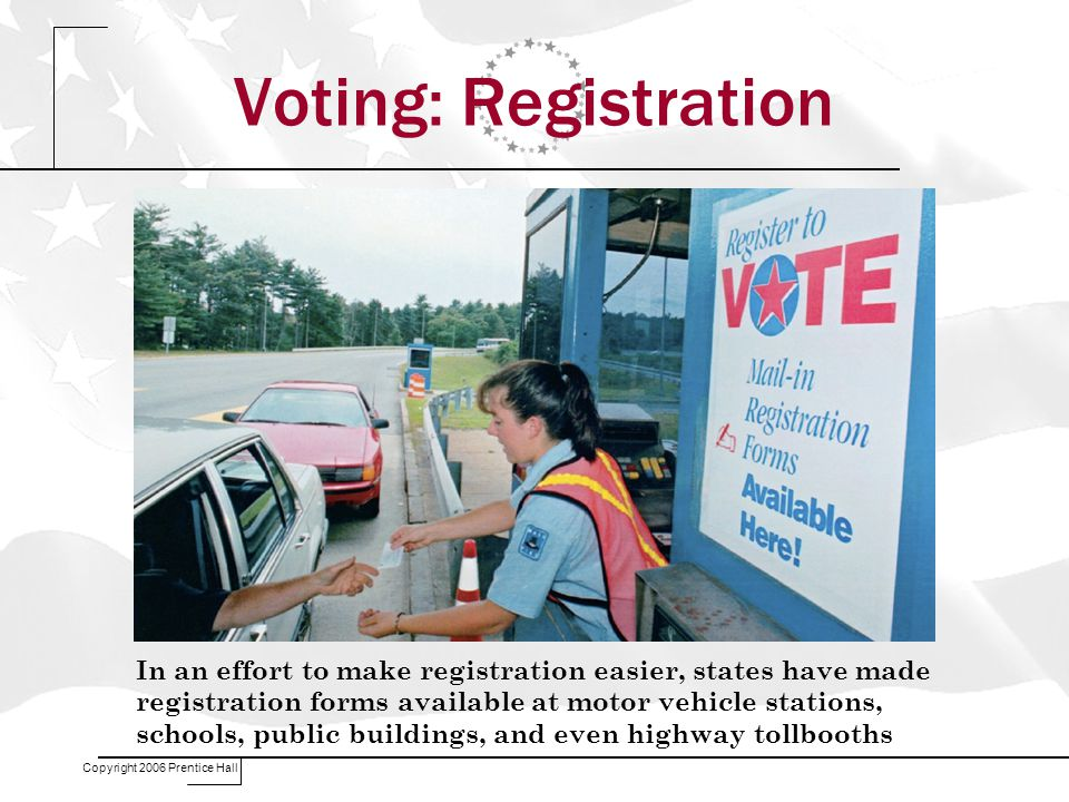 Copyright 2006 Prentice Hall Voting: Registration In an effort to make registration easier, states have made registration forms available at motor vehicle stations, schools, public buildings, and even highway tollbooths