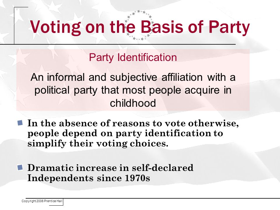 Copyright 2006 Prentice Hall Voting on the Basis of Party In the absence of reasons to vote otherwise, people depend on party identification to simplify their voting choices.