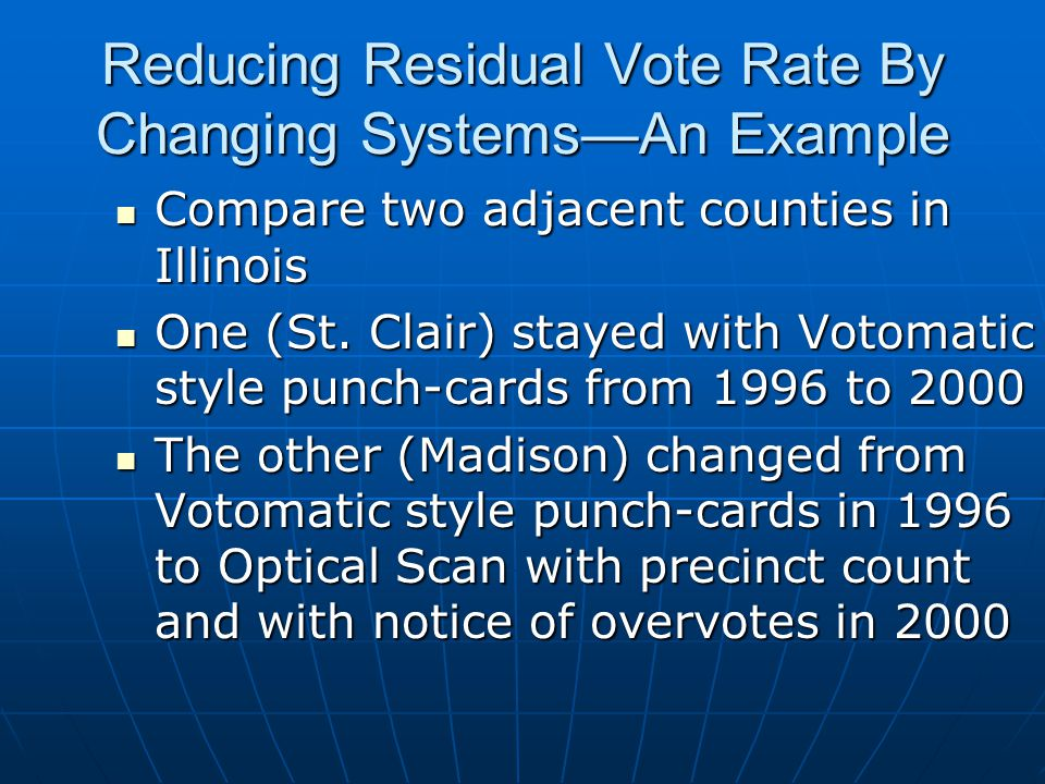 Reducing Residual Vote Rate By Changing Systems—An Example Compare two adjacent counties in Illinois Compare two adjacent counties in Illinois One (St.