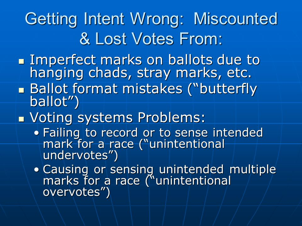 Getting Intent Wrong: Miscounted & Lost Votes From: Imperfect marks on ballots due to hanging chads, stray marks, etc.