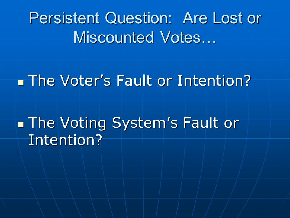 Persistent Question: Are Lost or Miscounted Votes… The Voter's Fault or Intention.