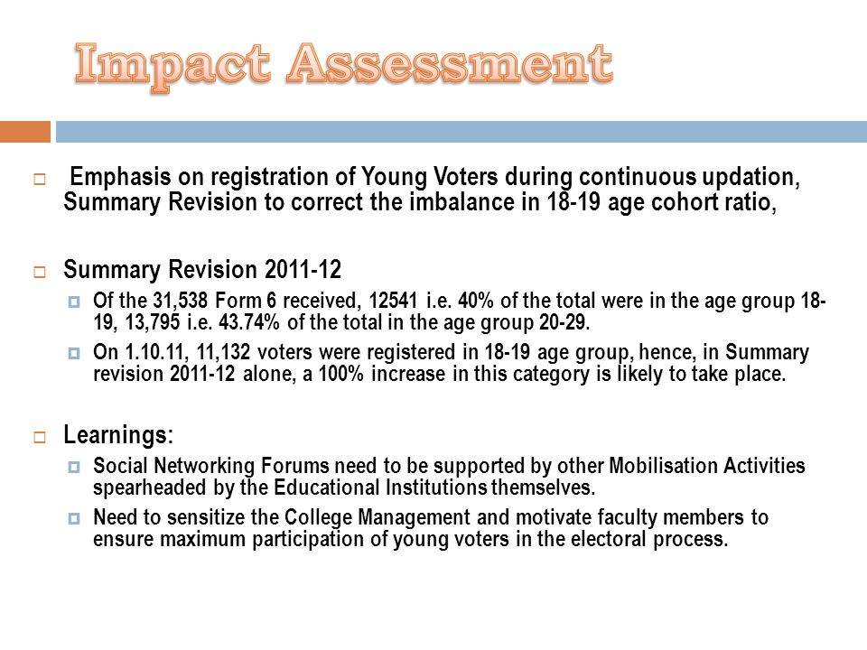  Emphasis on registration of Young Voters during continuous updation, Summary Revision to correct the imbalance in 18-19 age cohort ratio,  Summary Revision 2011-12  Of the 31,538 Form 6 received, 12541 i.e.