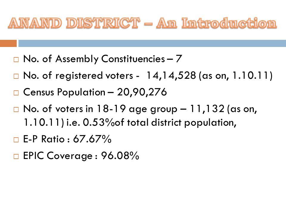  No. of Assembly Constituencies – 7  No.