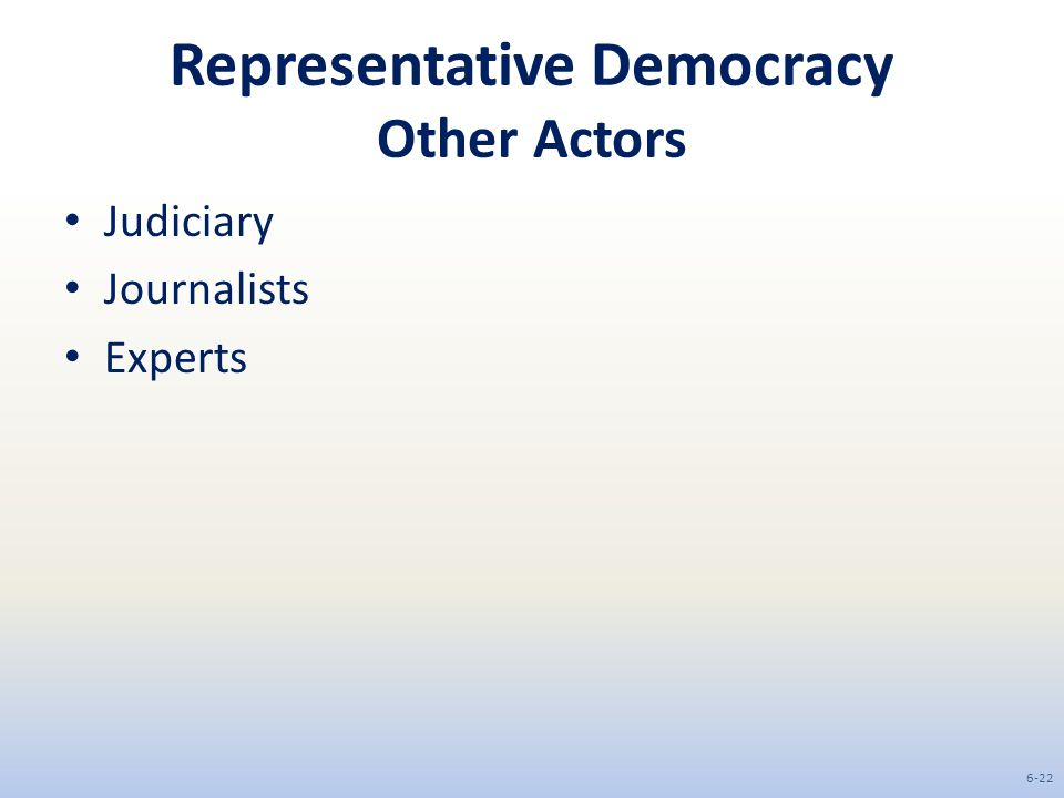 Representative Democracy Other Actors Judiciary Journalists Experts 6-22