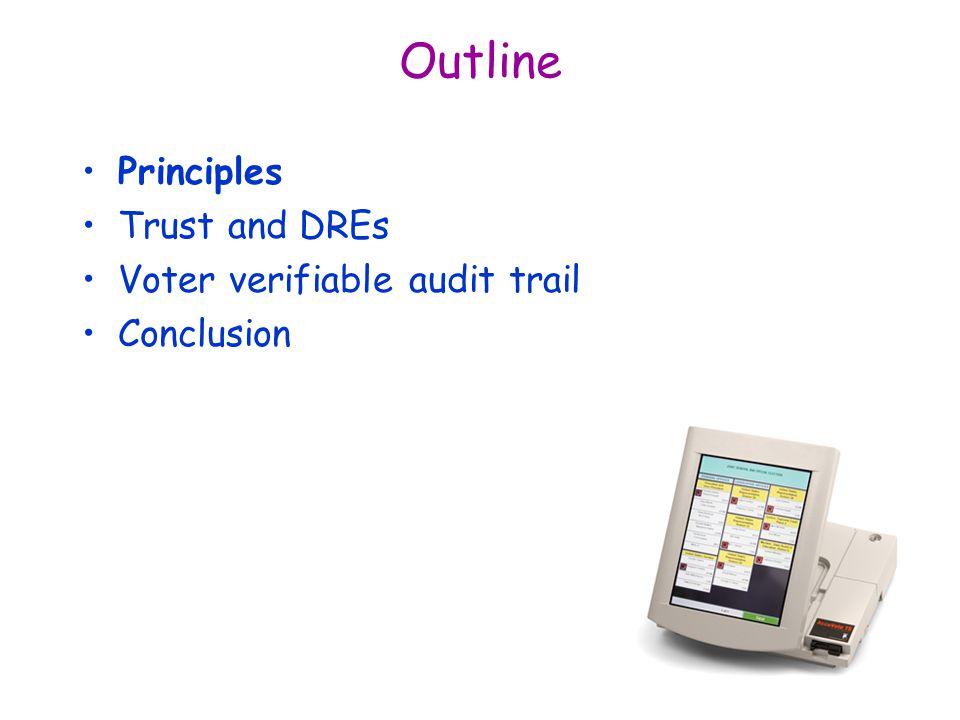 Outline Principles Trust and DREs Voter verifiable audit trail Conclusion