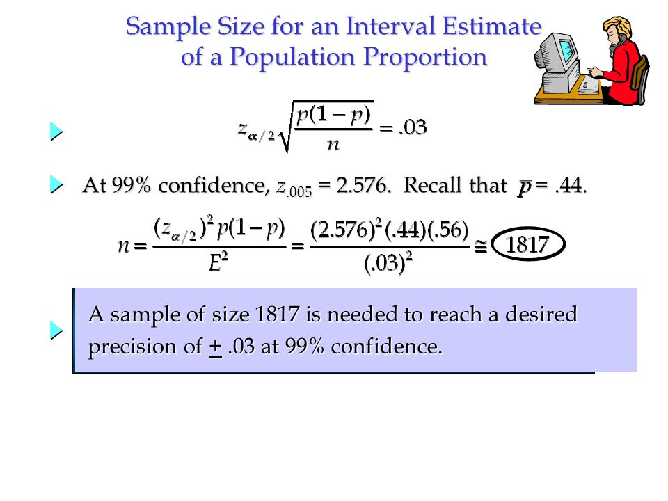 At 99% confidence, z.005 = 2.576. Recall that  =.44. A sample of size 1817 is needed to reach a desired A sample of size 1817 is needed to reach a d