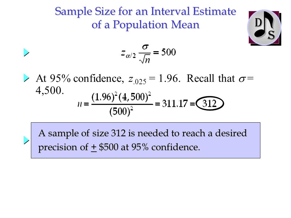 At 95% confidence, z.025 = 1.96. Recall that  = 4,500. Sample Size for an Interval Estimate of a Population Mean S D A sample of size 312 is needed