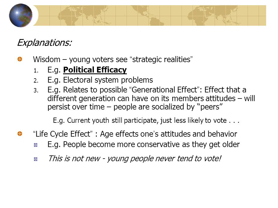 Explanations: Wisdom – young voters see strategic realities 1.