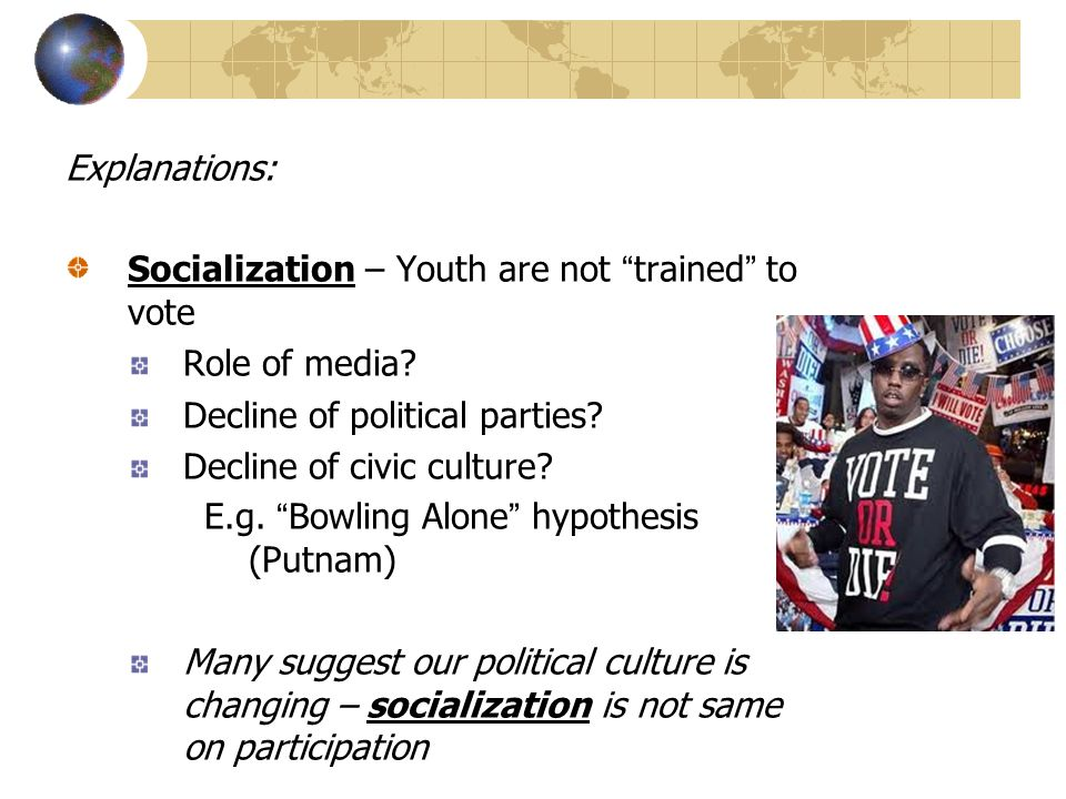 Explanations: Socialization – Youth are not trained to vote Role of media.