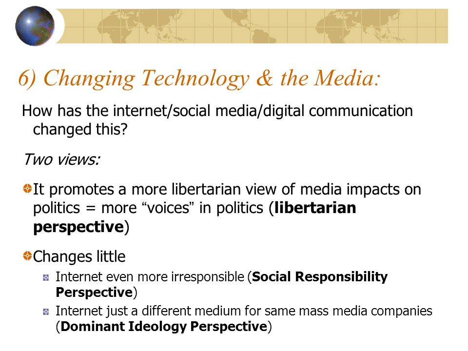 6) Changing Technology & the Media: How has the internet/social media/digital communication changed this.