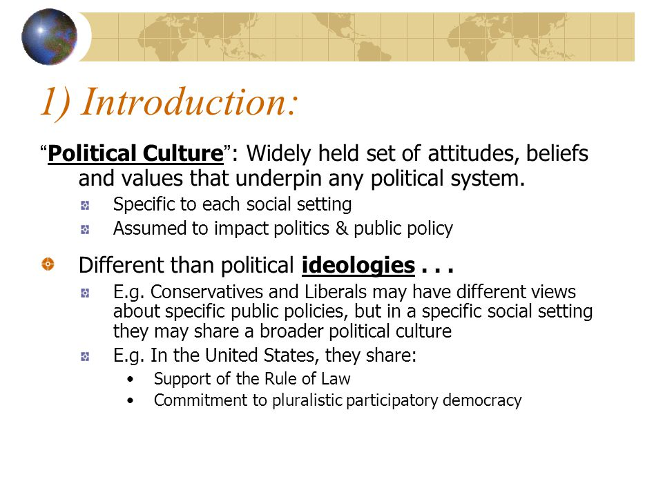 What kinds of political culture are there.