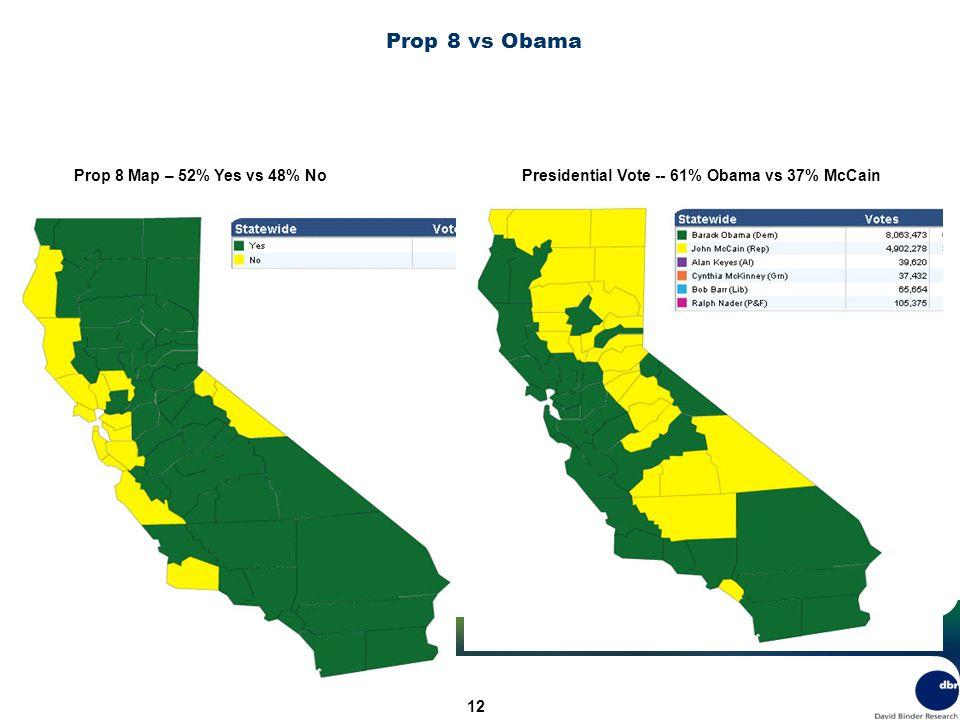 12 Prop 8 vs Obama Prop 8 Map – 52% Yes vs 48% NoPresidential Vote -- 61% Obama vs 37% McCain