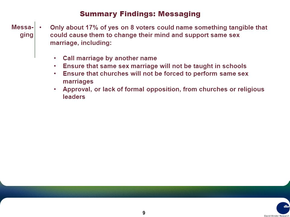 Summary Findings: Messaging Messa- ging Only about 17% of yes on 8 voters could name something tangible that could cause them to change their mind and support same sex marriage, including: Call marriage by another name Ensure that same sex marriage will not be taught in schools Ensure that churches will not be forced to perform same sex marriages Approval, or lack of formal opposition, from churches or religious leaders 9