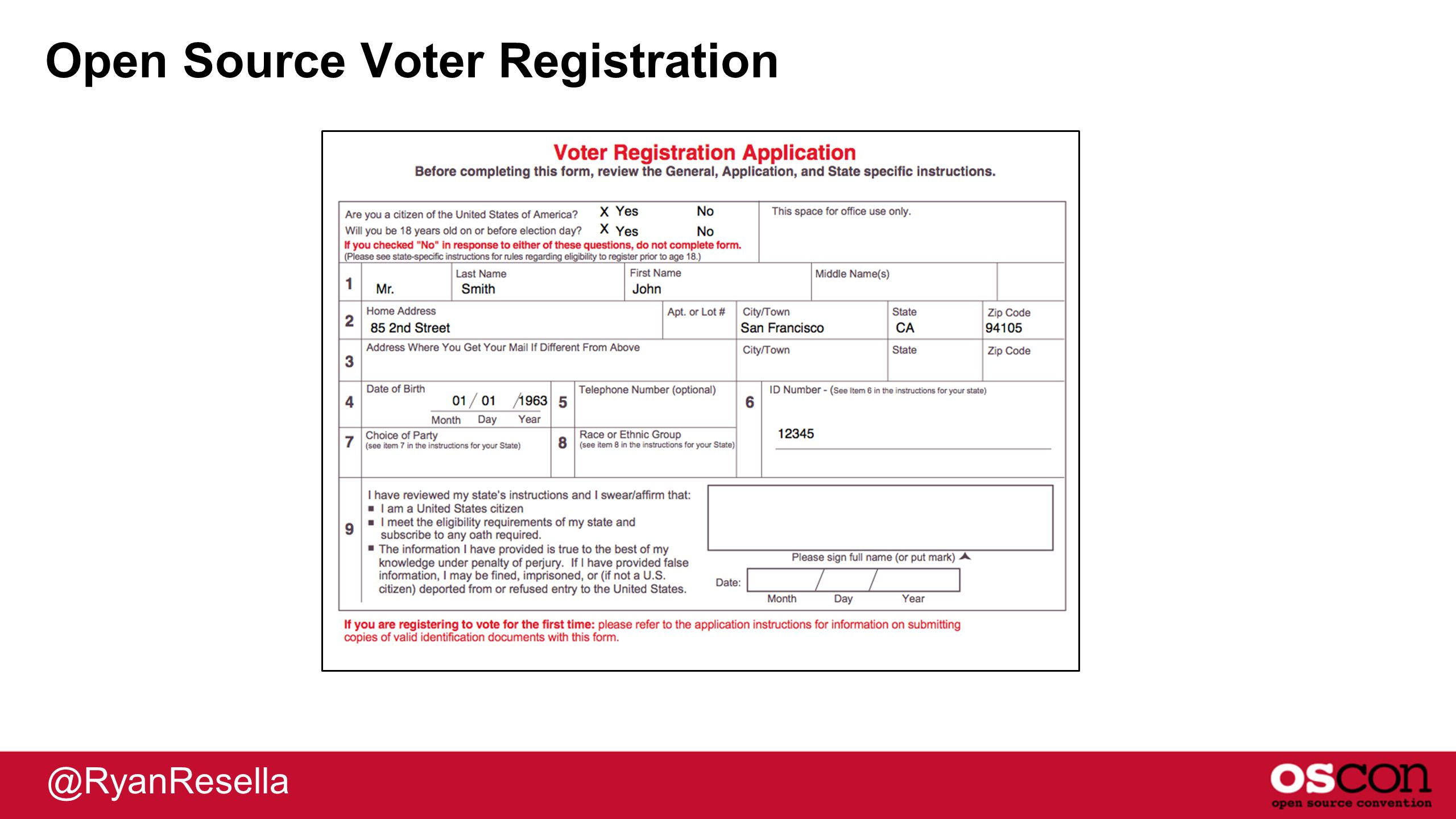 Open Source Voter Registration @RyanResella