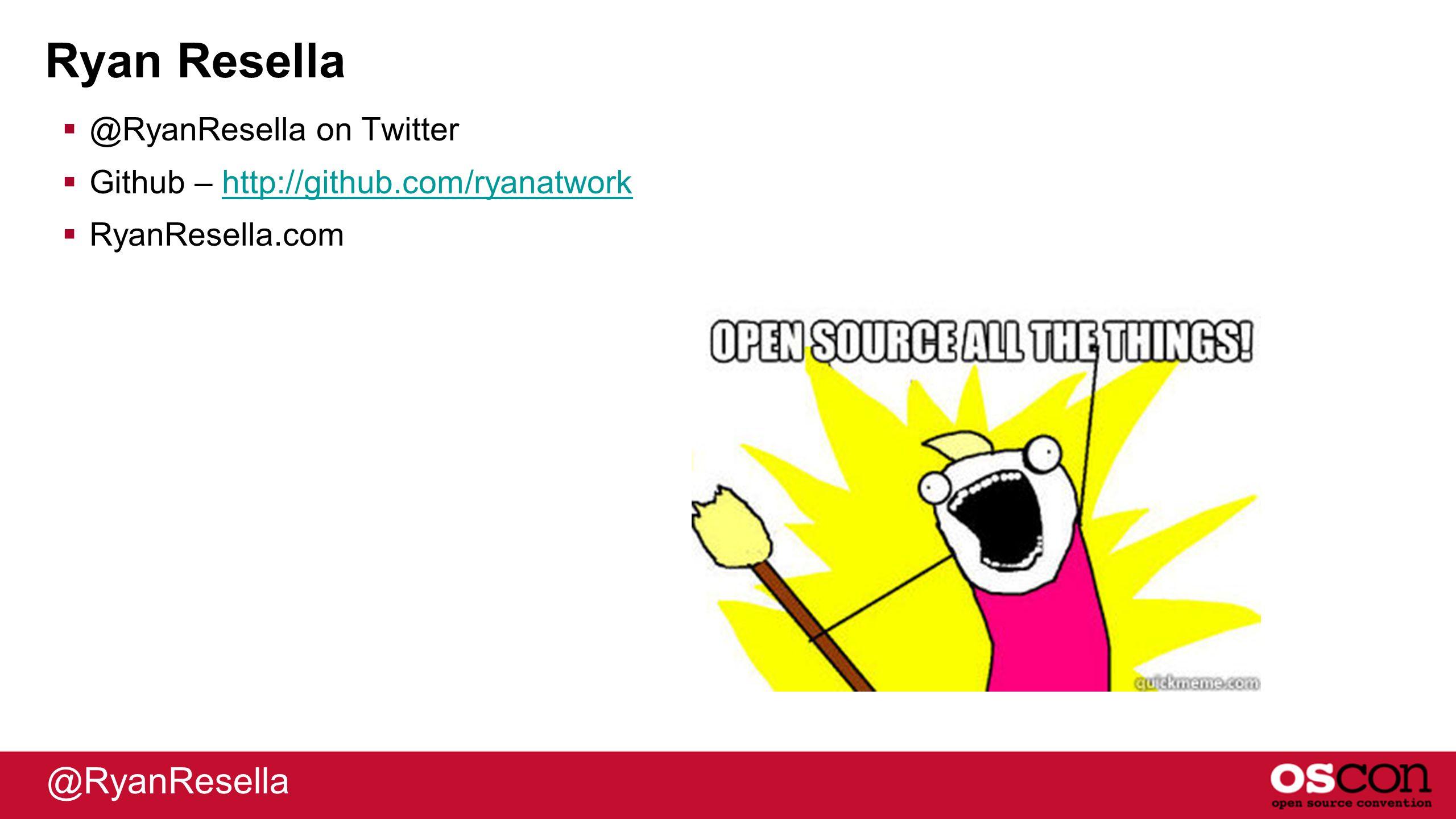 Ryan Resella  @RyanResella on Twitter  Github – http://github.com/ryanatworkhttp://github.com/ryanatwork  RyanResella.com @RyanResella
