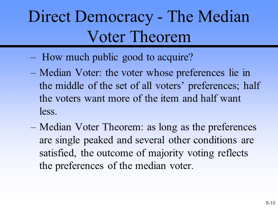 6-10 Direct Democracy - The Median Voter Theorem – How much public good to acquire.