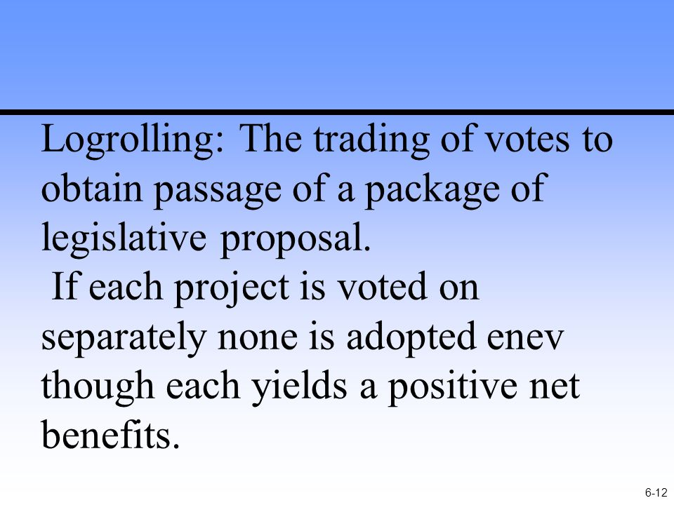 6-12 Logrolling: The trading of votes to obtain passage of a package of legislative proposal.