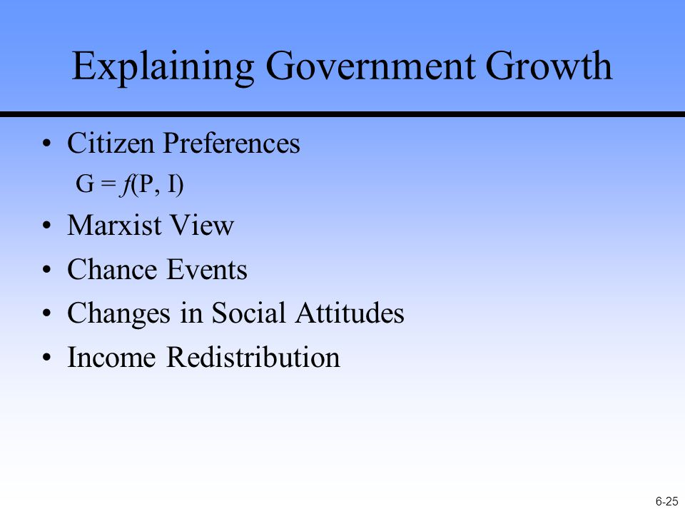 6-25 Explaining Government Growth Citizen Preferences G = f(P, I) Marxist View Chance Events Changes in Social Attitudes Income Redistribution