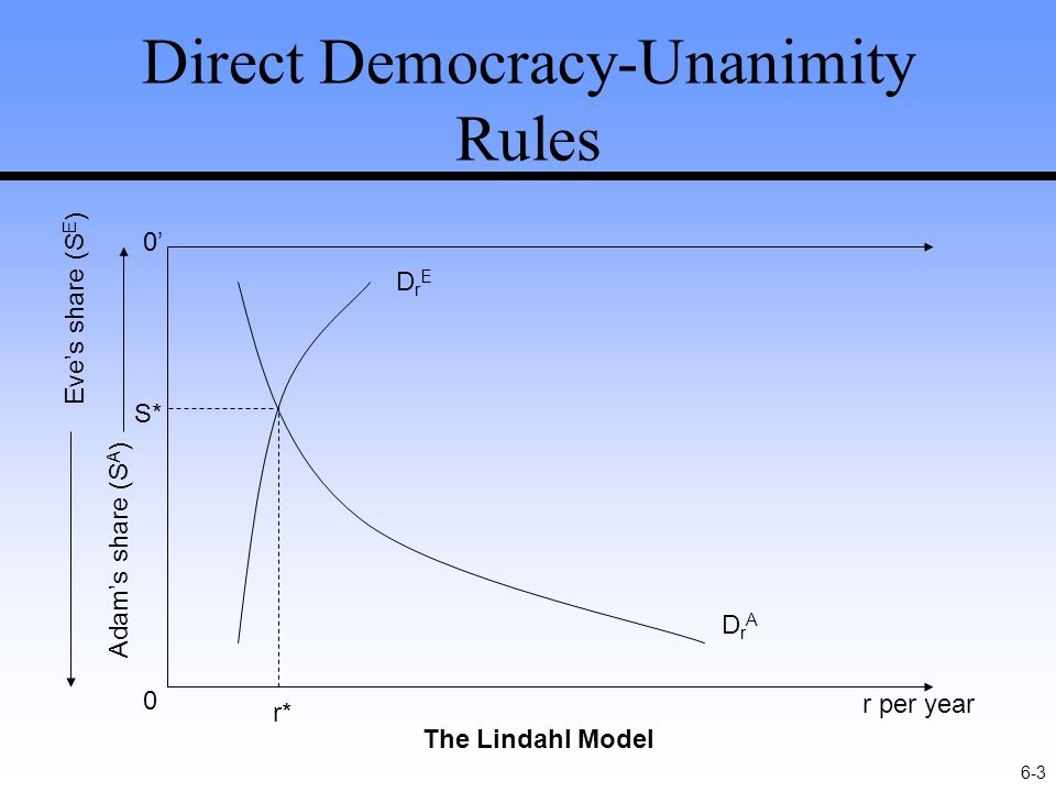 6-3 Direct Democracy-Unanimity Rules r per year 0 0'0' Adam's share (S A ) Eve's share (S E ) DrADrA The Lindahl Model DrEDrE r* S*
