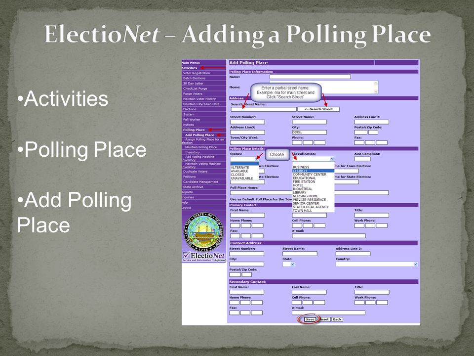 Activities Polling Place Add Polling Place
