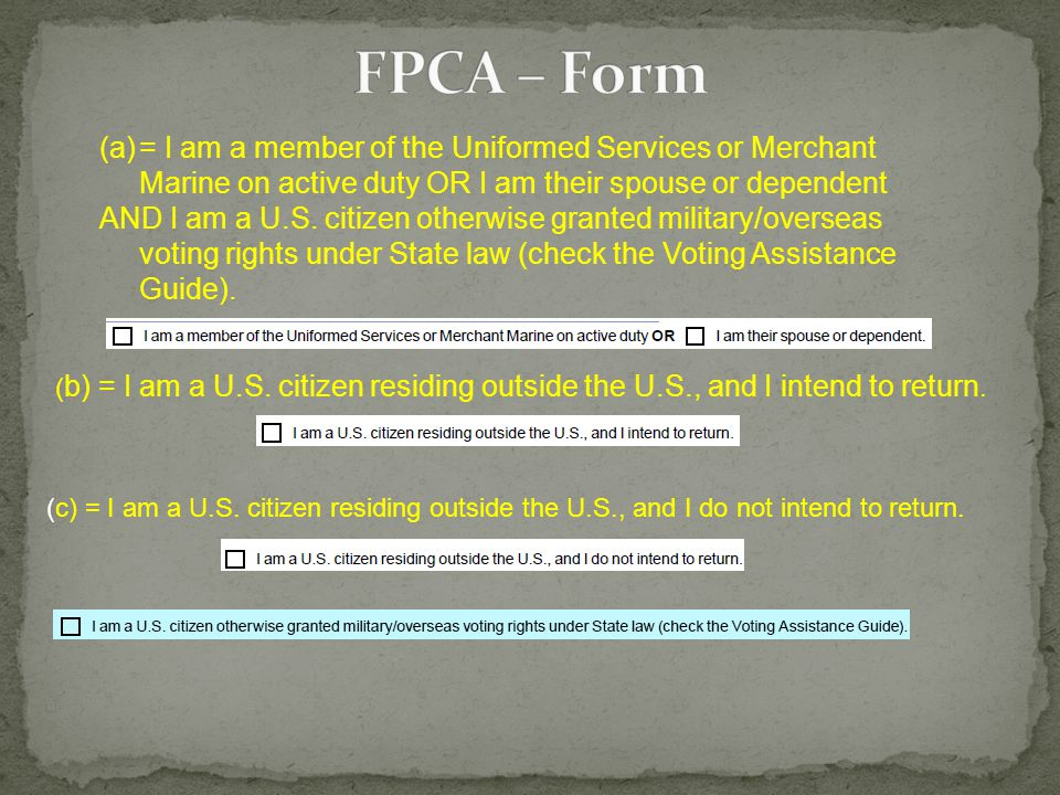 1.Do I have a current FPCA (Federal Post Card Application).