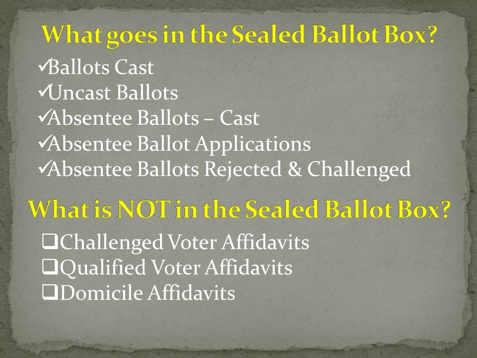 Ballots Cast Uncast Ballots Absentee Ballots – Cast Absentee Ballot Applications Absentee Ballots Rejected & Challenged  Challenged Voter Affidavits  Qualified Voter Affidavits  Domicile Affidavits
