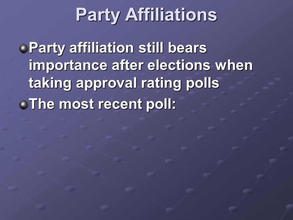Party Affiliations Party affiliation still bears importance after elections when taking approval rating polls The most recent poll: