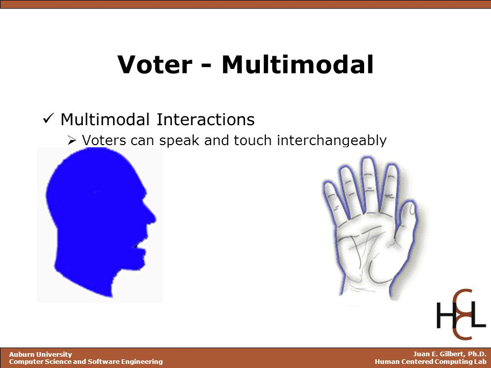 Juan E. Gilbert, Ph.D. Human Centered Computing Lab Auburn University Computer Science and Software Engineering Voter - Multimodal Multimodal Interact
