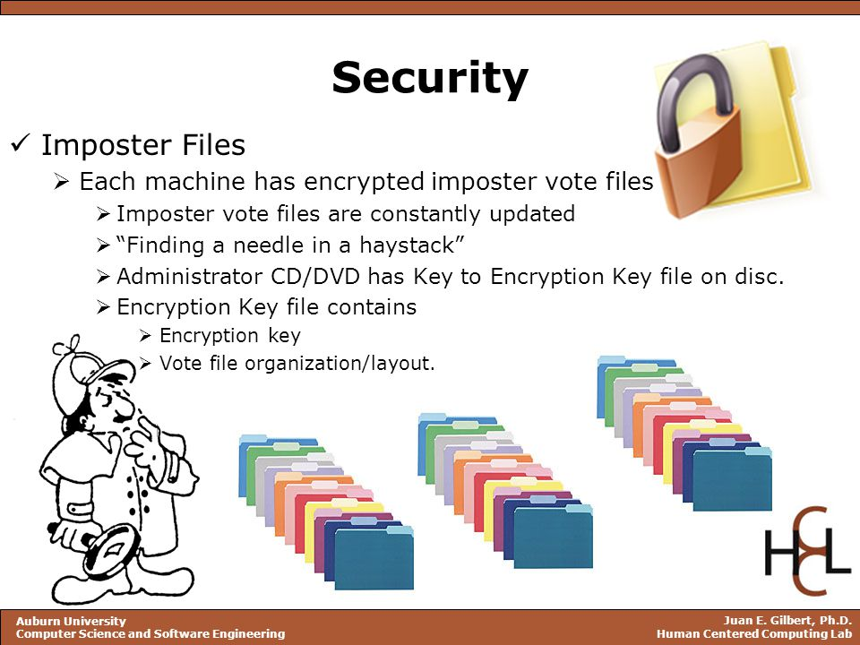 Juan E. Gilbert, Ph.D. Human Centered Computing Lab Auburn University Computer Science and Software Engineering Security Imposter Files  Each machine